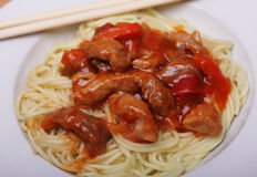 Chinese food - noodles with meat Royalty Free Stock Photography
