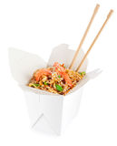 Chinese food. Noodles with shrimp isolated on white background. Royalty Free Stock Photography