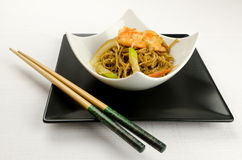 Chinese food, noodles with shrimps Stock Photos