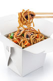 Chinese food. Noodles with vegetables and mushrooms isolated on stock images