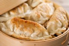 Chinese food pan fried dumplings Royalty Free Stock Images