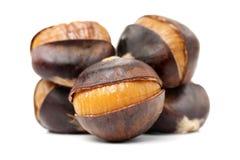 Chinese food, peeled roasted chestnut. Isolate white background royalty free stock images