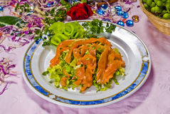 Chinese Food, Plate of Salmon. Salad Royalty Free Stock Images