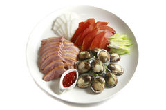 Chinese food, platter, abalone and mullet roe. A dish of abalone, mullet roe and duck, isolated on white Stock Photography
