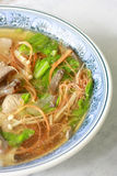 Chinese food, pork liver soup. Chinese food. pork liver soup with carrot, chinese cabbage, green onion, needle mushroom and fungus Stock Photo