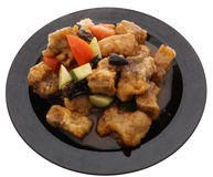 Chinese food. Pork ribs in sweet and sour sauce Stock Photos