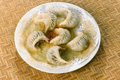 Chinese food, Potstickers dumplings Royalty Free Stock Photography