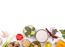 Chinese food raw ingredients, vegetables and nuts. Chinese dishes are most popular around the world. Some sorts of cuisine are Anhui, Cantonese, Fujian, Hunan Royalty Free Stock Photos