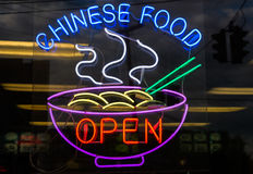 Chinese food restaurant neon sign open Royalty Free Stock Photography