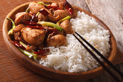 Chinese food: rice with chicken kung pao on a plate close-up. ho Stock Photo