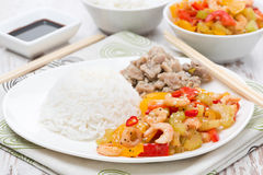 Chinese food - rice, chicken and vegetables with shrimp Royalty Free Stock Image