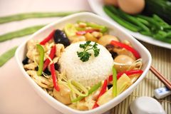 Chinese food rice mushrooms green onion lunch Royalty Free Stock Image