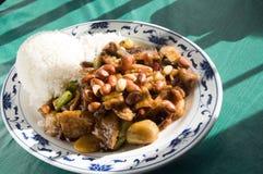 Chinese food roast pork  pepper sauce  peanuts Stock Photo