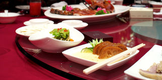 Chinese food on round table Royalty Free Stock Photo