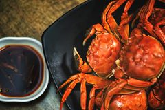 Chinese food Sichuan cuisine crab Hairy crab Steamed hairy crab royalty free stock photography