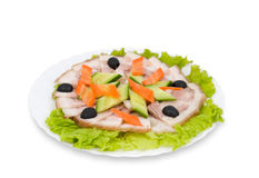 Chinese food. Smoked pork, clipping path. Royalty Free Stock Photo