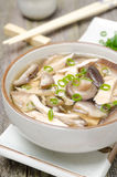 Chinese food - soup with chicken, shiitake mushrooms, green onions Royalty Free Stock Photos