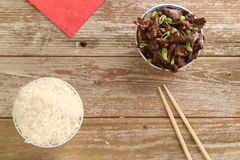 Chinese food Soy sauce cooked beef with star anise. Concept of Chinese food. Beef cooked in soy sauce with spring onions and star anise served in a china bowl Royalty Free Stock Images
