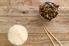 Chinese food Soy sauce cooked beef with star anise. Concept of Chinese food. Beef cooked in soy sauce with spring onions and star anise served in a china bowl Stock Photo