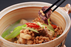 Chinese Food of Soybeans rib soup Stock Photography
