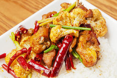 Chinese  food - Spicy chicken  and  cauliflower Stock Images