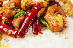 Chinese  food - Spicy chicken  and  cauliflower Stock Image