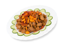 Chinese food. Spicy pork with peanuts Royalty Free Stock Photography
