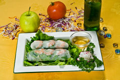 Chinese Food Spring Rolls. Chinese Food, Plate of Shrimp Spring Rolls Royalty Free Stock Photo