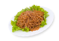 Chinese food. Starch noodles, clipping path. Royalty Free Stock Image