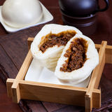 Chinese food, steamed buns. The steamed stuffed bun is generally made of fermented flour, commonly used for filling pork, mutton, beef, starch, mushroom, bean Stock Image