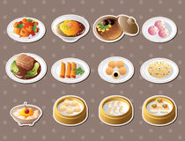 Chinese food stickers. Cartoon  illustration Stock Photography