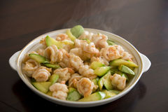Chinese food - stir-fried shrimps royalty free stock photography