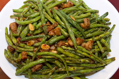 Chinese Food String Beans with Almond and Chicken. Stir Fry Royalty Free Stock Photo