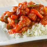 Chinese Food - Sweet And Sour Chicken On Rice Royalty Free Stock Photography