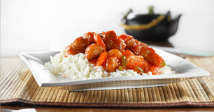 Chinese food - sweet and sour chicken wideshot. Photo of sweet and sour chicken shot in a wide aspect ratio Stock Photography