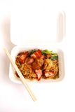 Chinese food take away, wonton noodles packed. Takeaway Chinese food in white styrofoam container. Wan ton (or wonton) noodles with sliced broiled pork, meat and stock photography