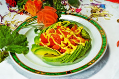 Chinese Food, Tomato Salad. Chinese Food, Plate of Tomato and Avocado Salad Stock Image