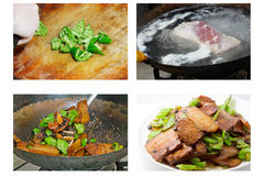 Chinese food —— Twice-cooked pork Cooking method Royalty Free Stock Photos