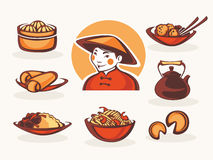 Chinese food. Vector collection of chinese food symbols Stock Images