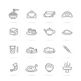 Chinese food vector line icons Stock Photos