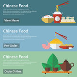 Chinese food. Web banners in flat style. Royalty Free Stock Image