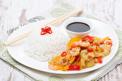 Chinese food, white rice and vegetables with shrimp Stock Image