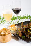 Chinese food and wine. On table Royalty Free Stock Image