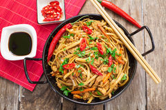 Chinese food on wok Royalty Free Stock Images