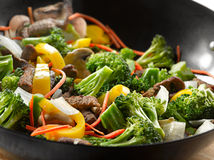 Chinese food - wok stir fry closeup Royalty Free Stock Photography