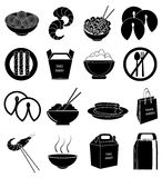 Chinese foods icons set Stock Image