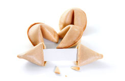 Chinese fortune cookie with blank paper strip Royalty Free Stock Image