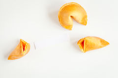 Chinese fortune cookie with prediction on white background top view Royalty Free Stock Image