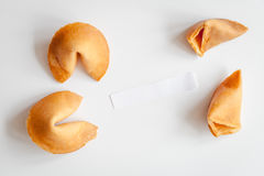 Chinese fortune cookie with prediction on white background top view Stock Image