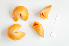 Chinese fortune cookie with prediction on white background top view Royalty Free Stock Photos